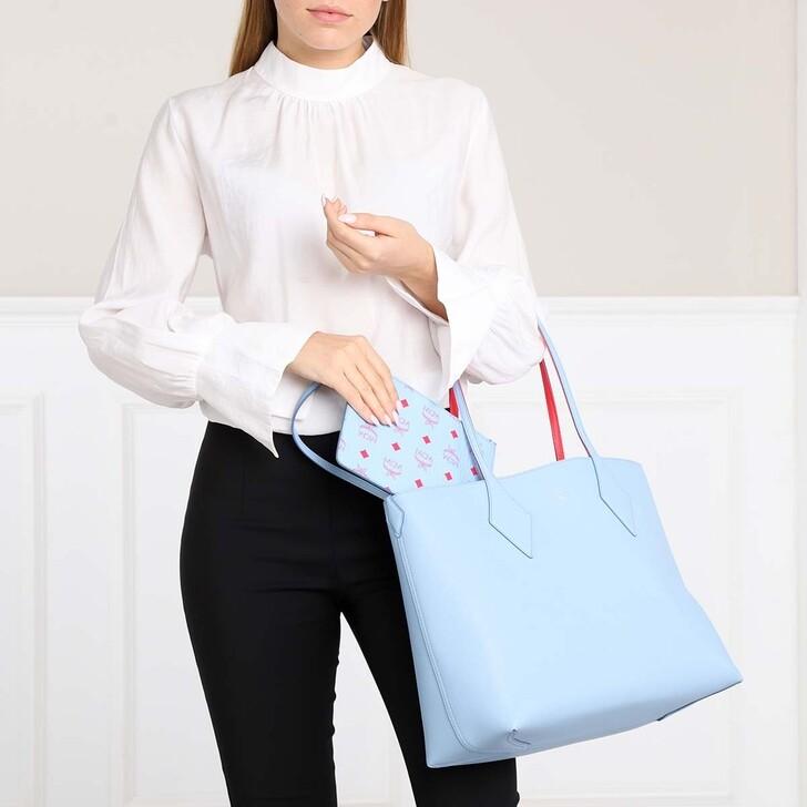 bags, MCM, Leather Reversible Shopping Bag Medium Blue Bell