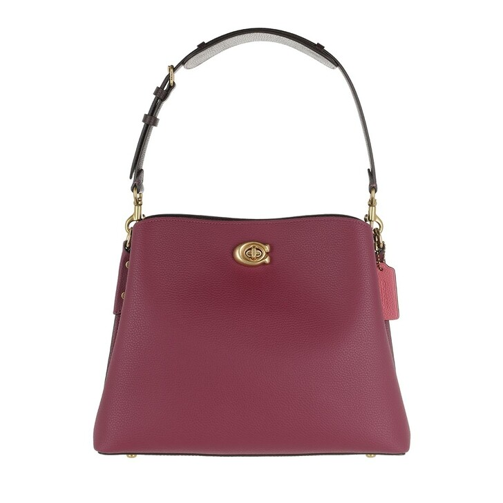 Handtasche, Coach, Colorblock Leather Willow Shoulder Bag B4/Black Cherry Multi