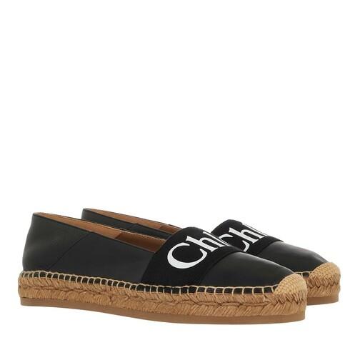 chloé -  Espadrilles - Woody Flat Espadrilles Leather Canvas - in schwarz - für Damen