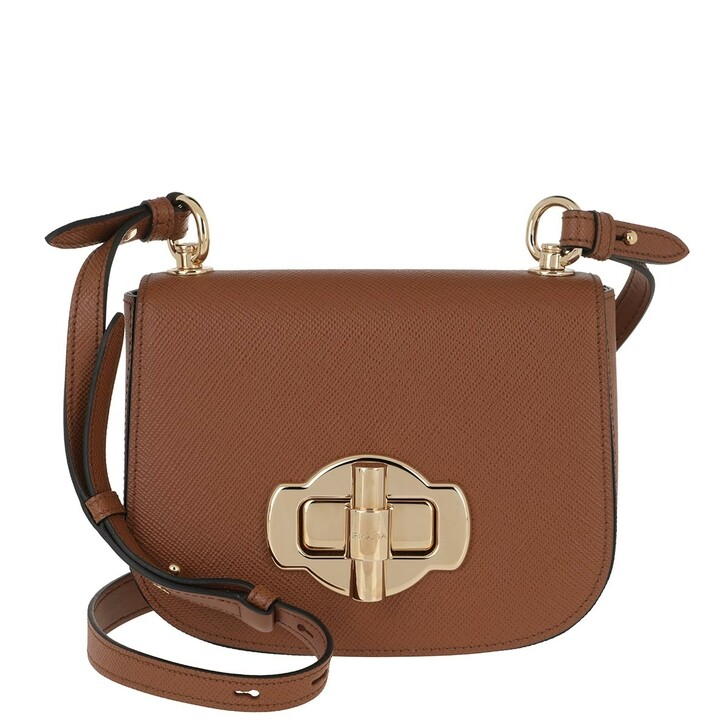 Handtasche, Prada, Saffiano Lock Crossbody Bag Leather Cognac