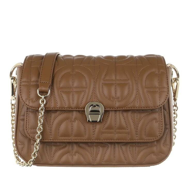 Handtasche, AIGNER, Genoveva Shoulder Bag Dark Toffee Brown