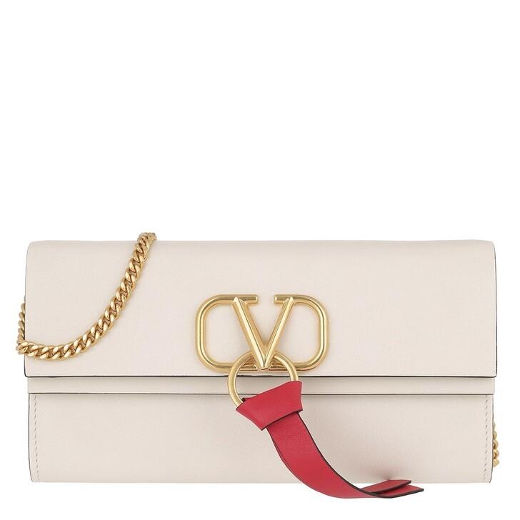Handtasche, Valentino Garavani, V Logo On Chain Wallet White