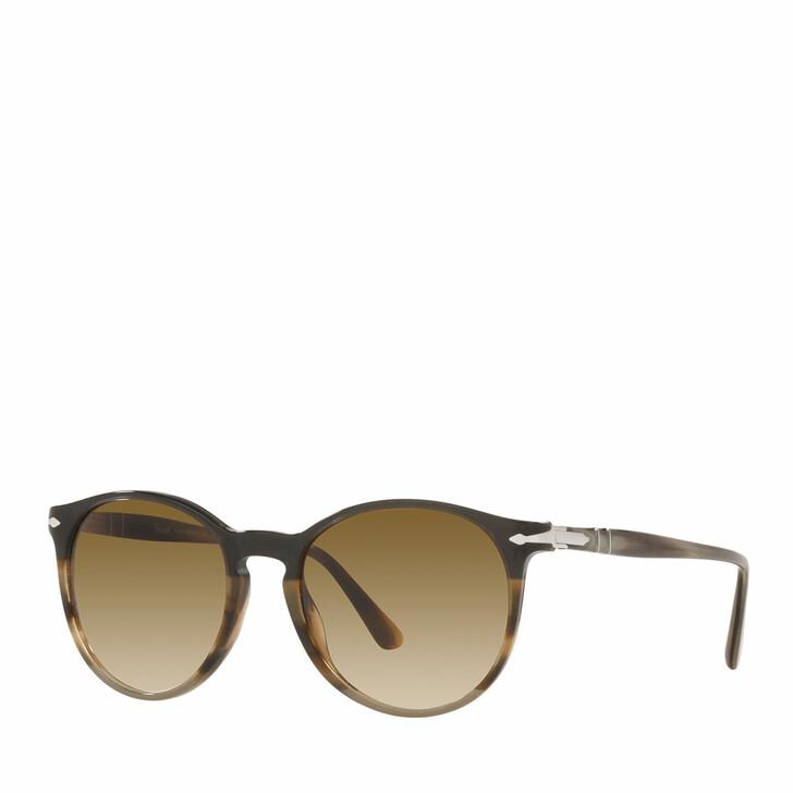 sunglasses, Persol, 0PO3228S STRIPED BROWN /GREY /BLACK