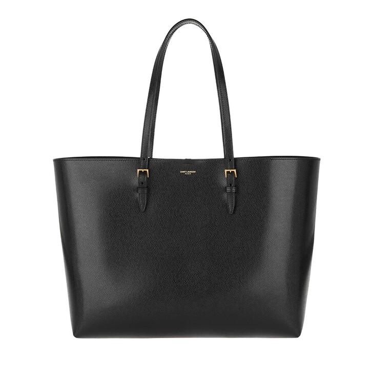 bags, Saint Laurent, Medium Tote Bag Leather Nero