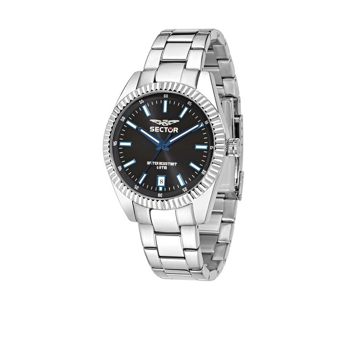 watches, Sector, 240 41Mm 3H Black Dial Bracelet SS Case Silver