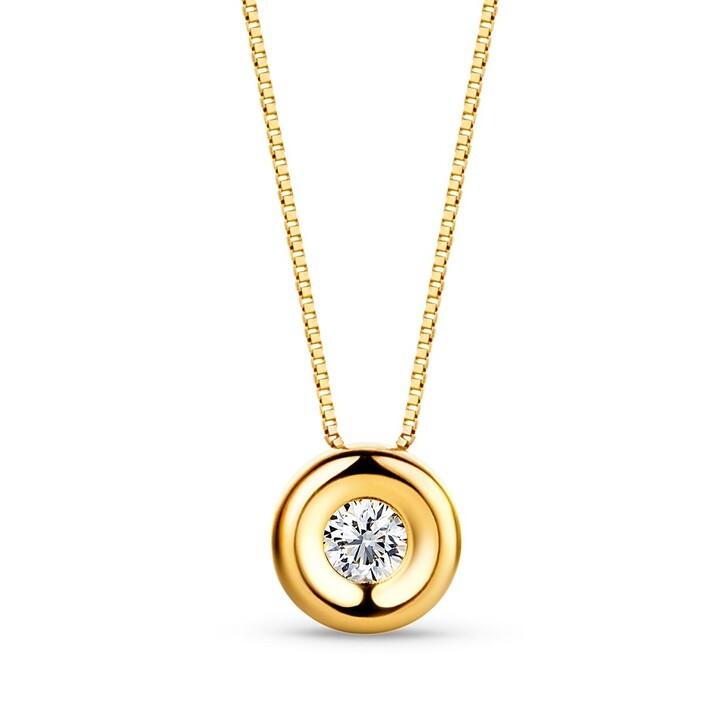 Kette, DIAMADA, 18KT 0.05ct Diamond Solitaire Necklace 18KT Yellow Gold
