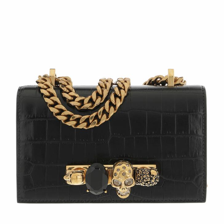 bags, Alexander McQueen, Mini Jewelled Satchel Ottone Black
