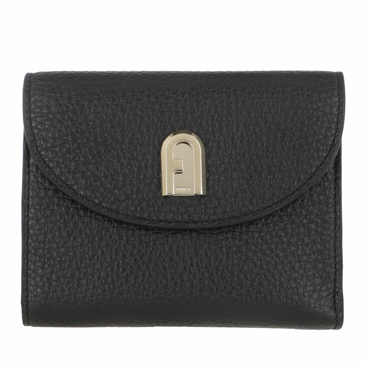 wallets, Furla, Sleek Medium Compact Wallet Nero