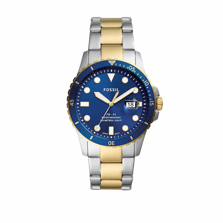 Uhr, Fossil, Men FB-01 Three-Hand Date Stainless Steel Watch Two-Tone