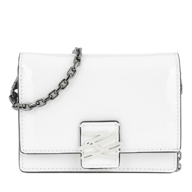 Handtasche, Karl Lagerfeld, Autograph Wallet On Chain Patent Leather White