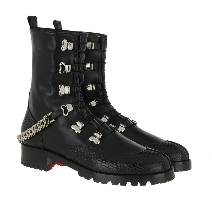 Schuh, Christian Louboutin, Low Chain Boots Leather Black