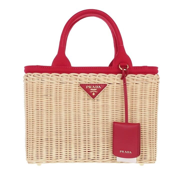 Handtasche, Prada, Wicker and Canvas Handbag Natural