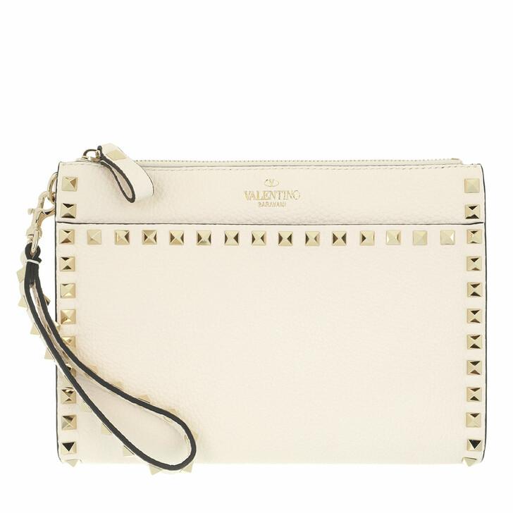 bags, Valentino Garavani, Medium Flat Pouch Light Ivory