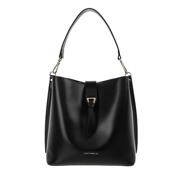 Handtasche, Coccinelle, Alba Textured Bucket Bag Noir