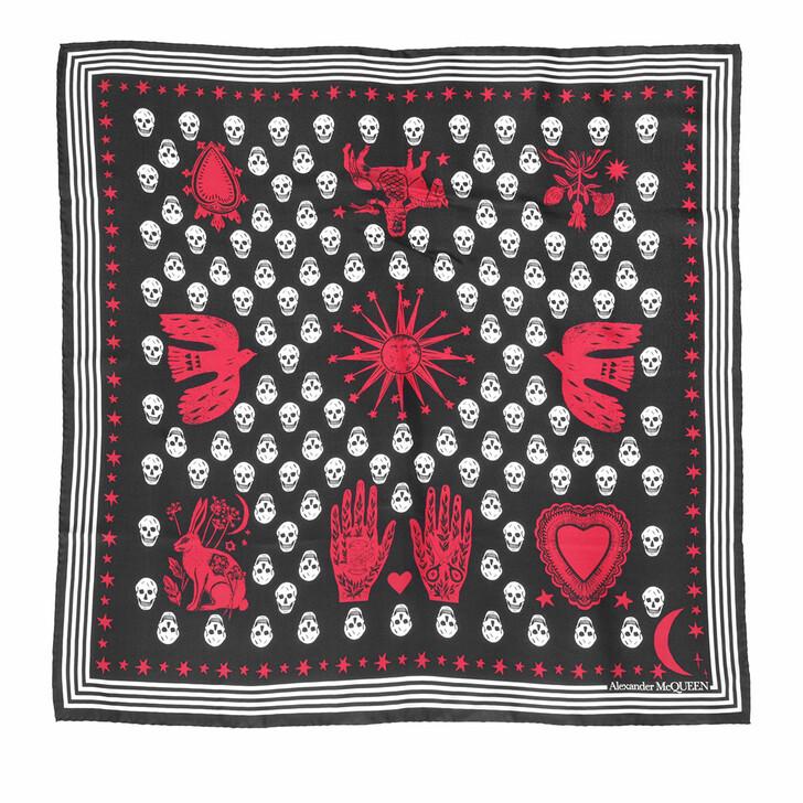 scarves, Alexander McQueen, Mystical Biker Scarf Black/Red
