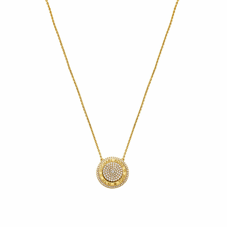 Kette, Michael Kors, 14k Gold-Plated Pave Focal Pendant Necklace Yellow Gold