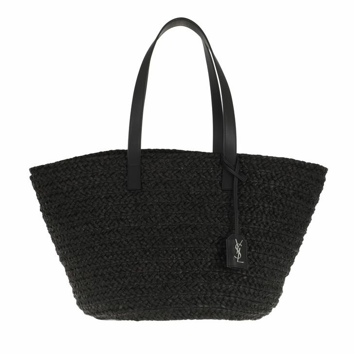 bags, Saint Laurent, Logo Straw Shopper Black
