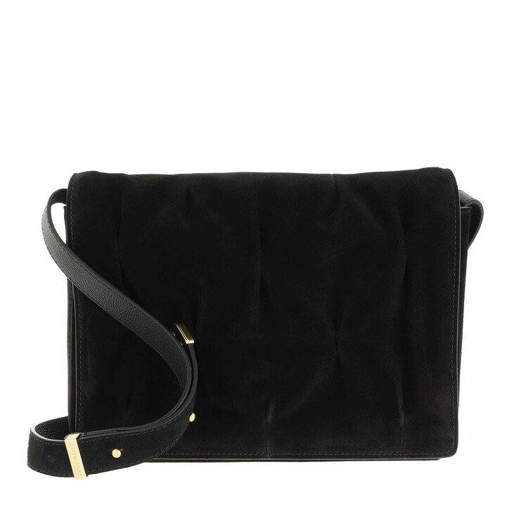 bags, Coccinelle, Handbag Suede Leather Noir