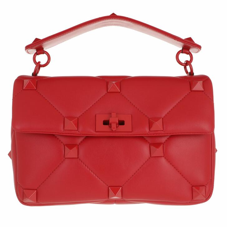 bags, Valentino Garavani, Roman Stud Crossbody Bag With Handle Leather Red