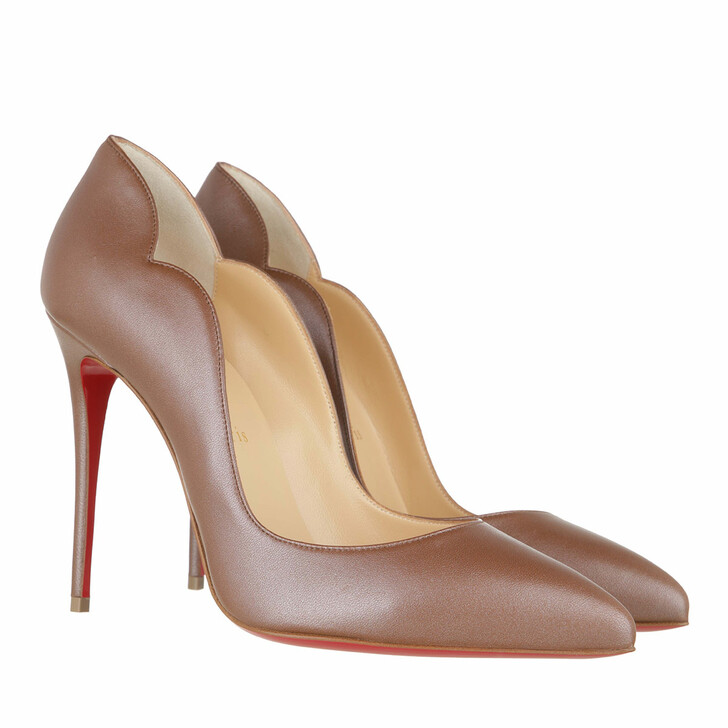 shoes, Christian Louboutin, Hot Chick 100MM Heels Nappa Calfskin Leather Biscotto