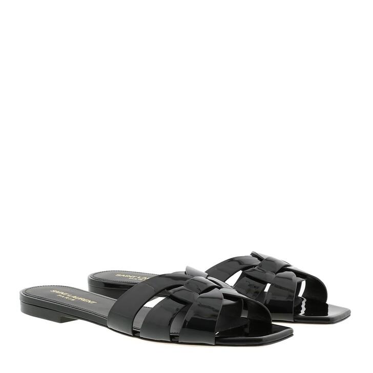shoes, Saint Laurent, Nu Pieds Slide Sandals Shiny Leather Black