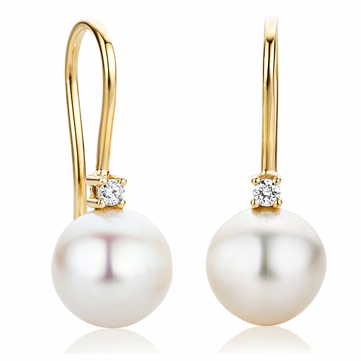 earrings, DIAMADA, 18KT Earrings with Diamonds and Pearls Yellow Gold