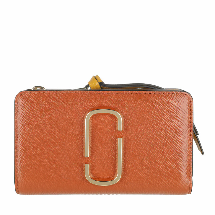 Geldbörse, Marc Jacobs, The Snapshot Compact Wallet Saddle Brown Multi