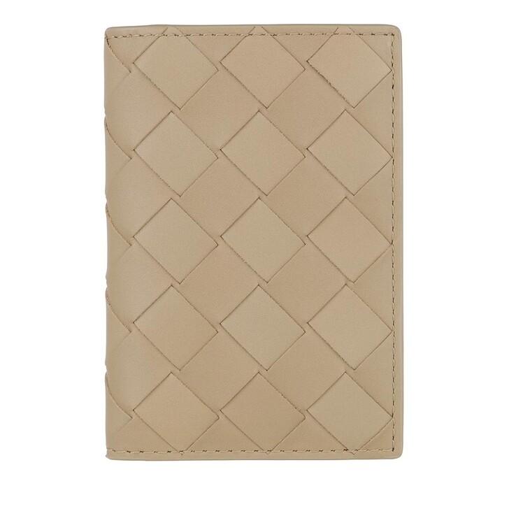 Geldbörse, Bottega Veneta, Woven Card Case Leather Taupe