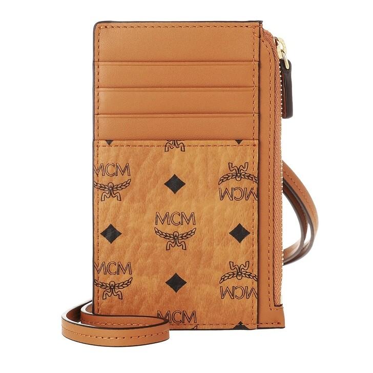 Geldbörse, MCM, Visetos Or U-C18 Card&in Case Dring (P  Cognac