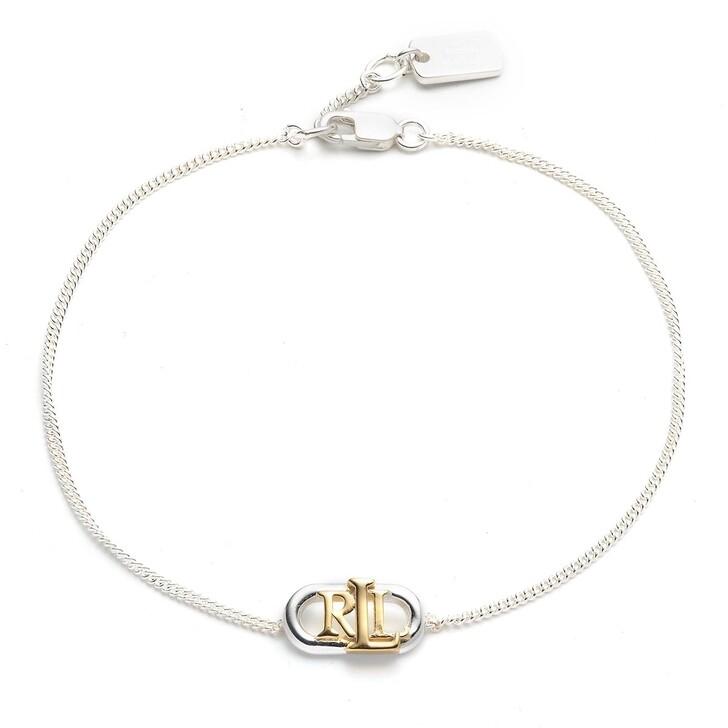 Armreif, Lauren Ralph Lauren, Sterling Silver Two Tone Logo Bracelet Silver