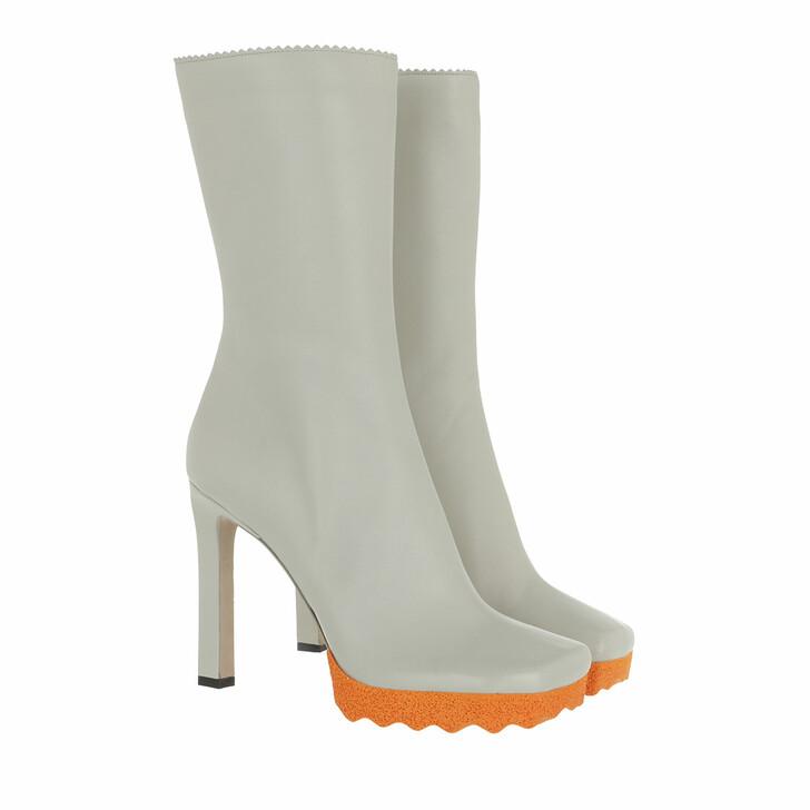 shoes, Off-White, Nappa Sponge Ankle Bootie Grey/Orange