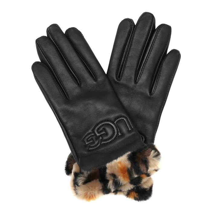 Handschuh, UGG, Faux Fur Cuff Logo Gloves Black