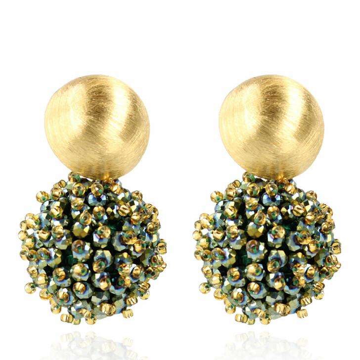 earrings, LOTT.gioielli, Earring Glassberry Globe Large Double Stones Metallic Green and Gold