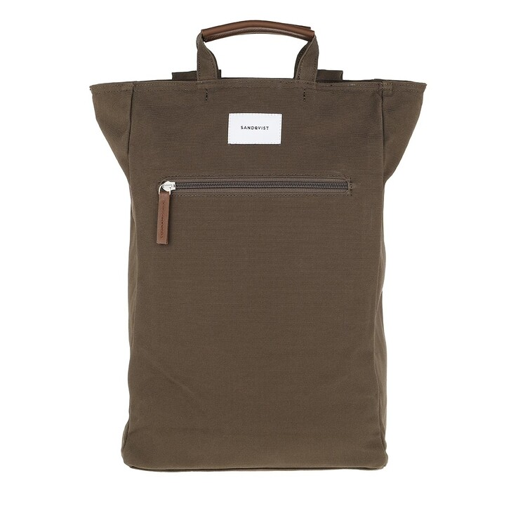 bags, Sandqvist, Tony Backpacks Leather Olive Cognac