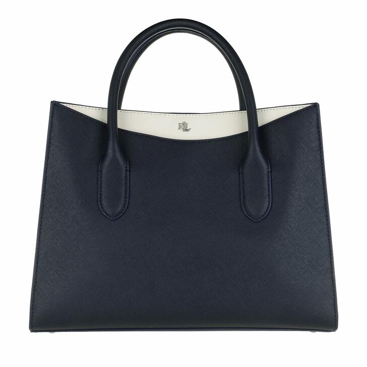 bags, Lauren Ralph Lauren, Emery 31 Satchel Medium Lauren Navy/Vanilla