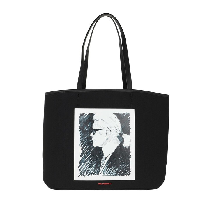 Handtasche, Karl Lagerfeld, Legend Canvas Tote Bag Black