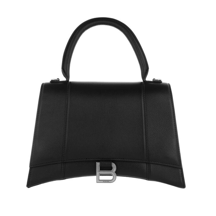 Handtasche, Balenciaga, Hourglass Medium Satchel Bag Leather Black