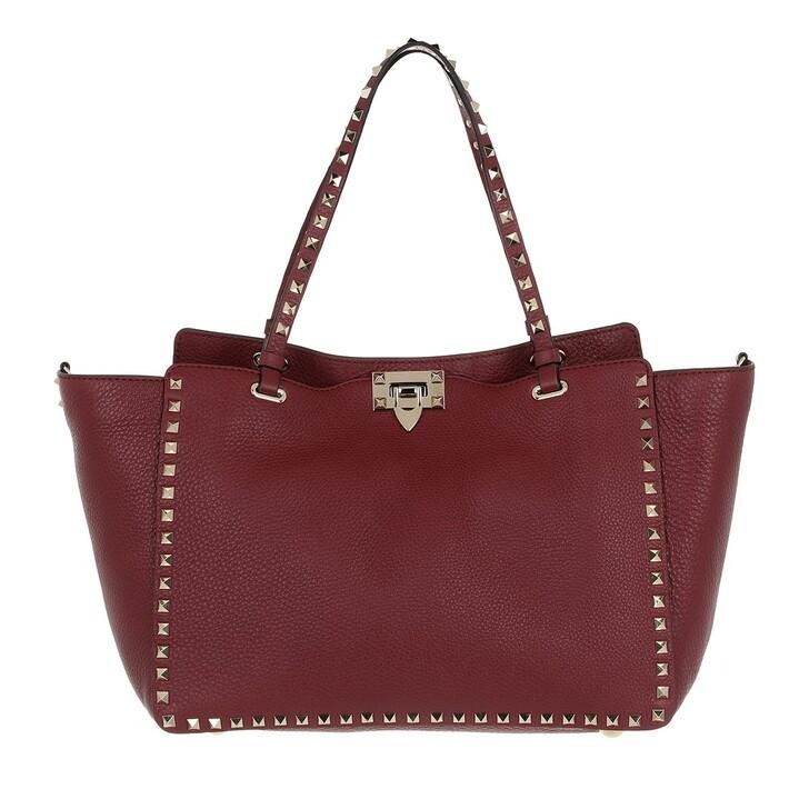 Handtasche, Valentino, Rockstud Shopping Bag Cerise