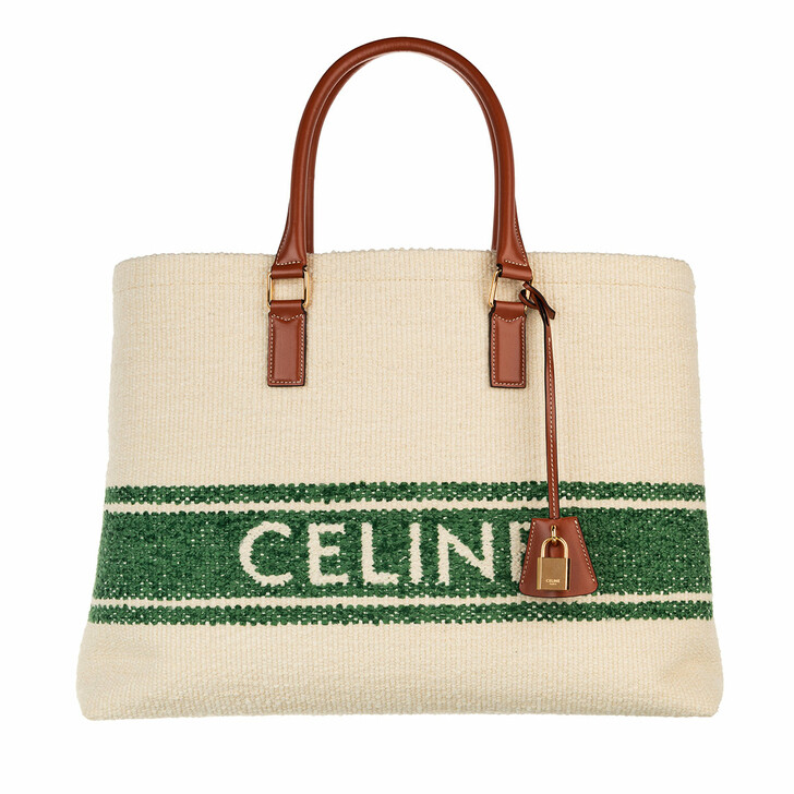 Handtasche, Celine, Horizontal Woven Logo Shopping Bag Beige/Green/Tan