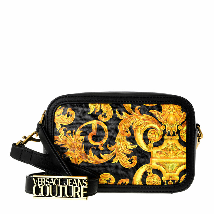Handtasche, Versace Jeans Couture, Baroque Camera Crossbody Bag Small Black Gold