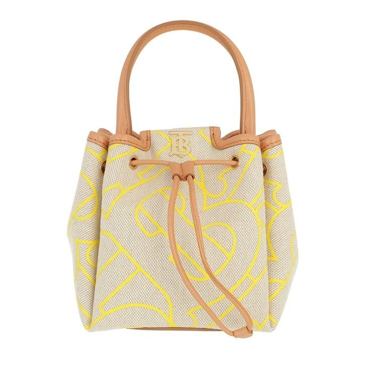 Handtasche, Burberry, Logo Bucket Bag Leather Natural