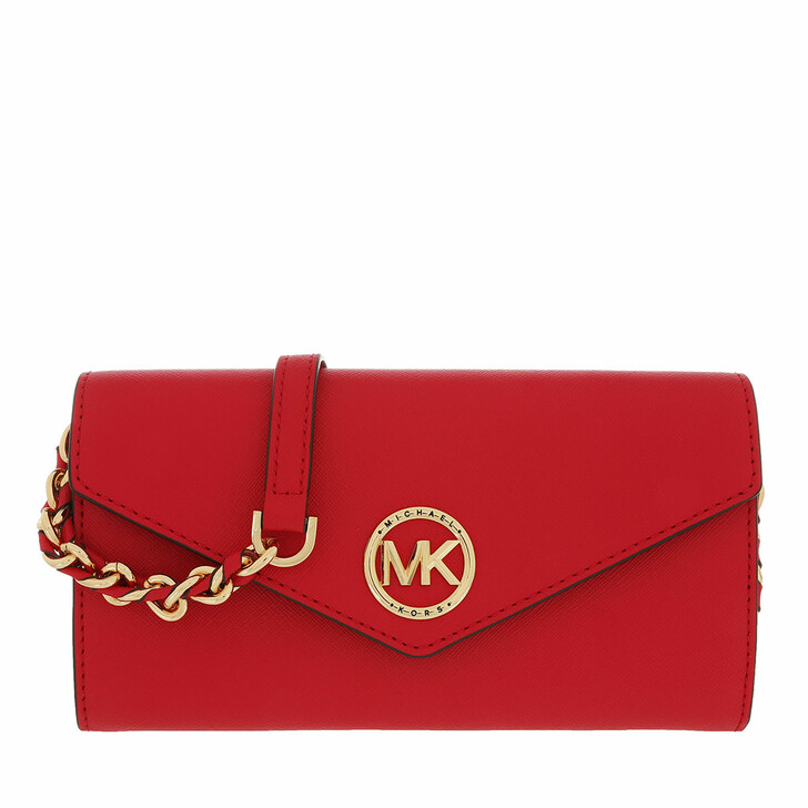 Geldbörse, MICHAEL Michael Kors, Large Wallet On Chn  Handbag  Leather Bright Red
