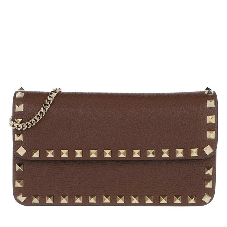 Handtasche, Valentino Garavani, Rockstud Pouch Leather Deep Taupe