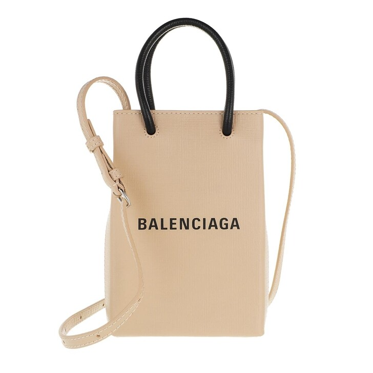 smart_cases, Balenciaga, Shopping Phone Holder Bag Leather Light Beige