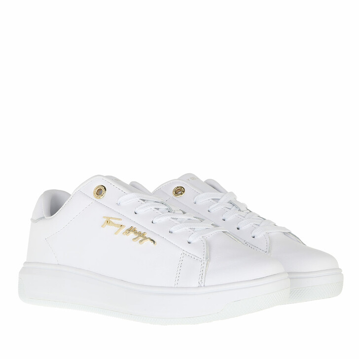 shoes, Tommy Hilfiger, Signature Leather Sneaker White
