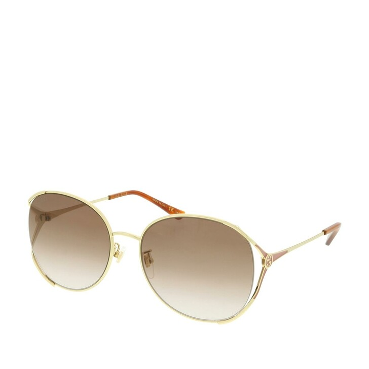 Sonnenbrille, Gucci, GG0650SK-004 59 Sunglasses Gold-Gold-Brown