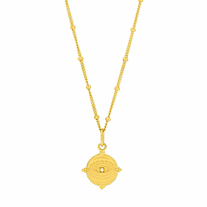 Kette, Leaf, Necklace Evil Eye 18K Yellow Gold-Plated