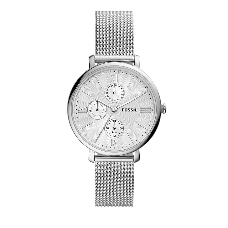 watches, Fossil, Jacqueline Multifunction Stainless Steel Mesh Watc Silver
