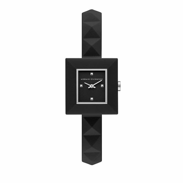 watches, Armani Exchange, Two-Hand Silicone Watch Black
