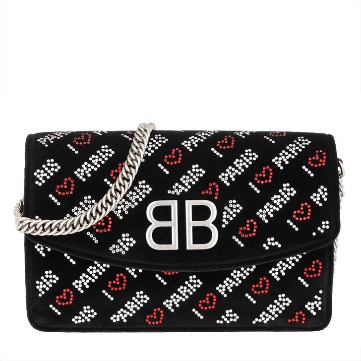 "Handtasche, Balenciaga, BB Wallet On Chain ""Love Paris"" Velvet Black"